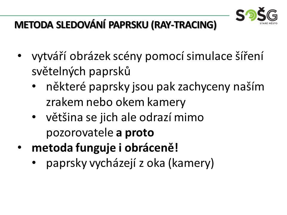 METODA SLEDOVÁNÍ PAPRSKU (RAY-TRACING) jsou sledovány při průchodu scénou tj.