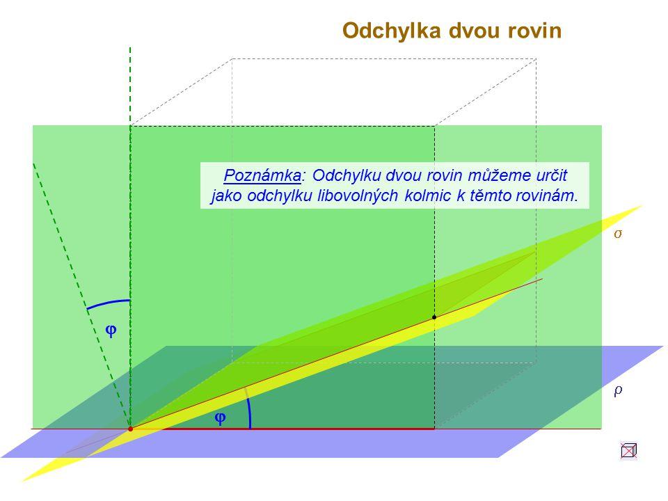 Odchylka dvou rovin   Poznámka: Odchylku dvou rovin můžeme určit jako odchylku libovolných kolmic k těmto rovinám.