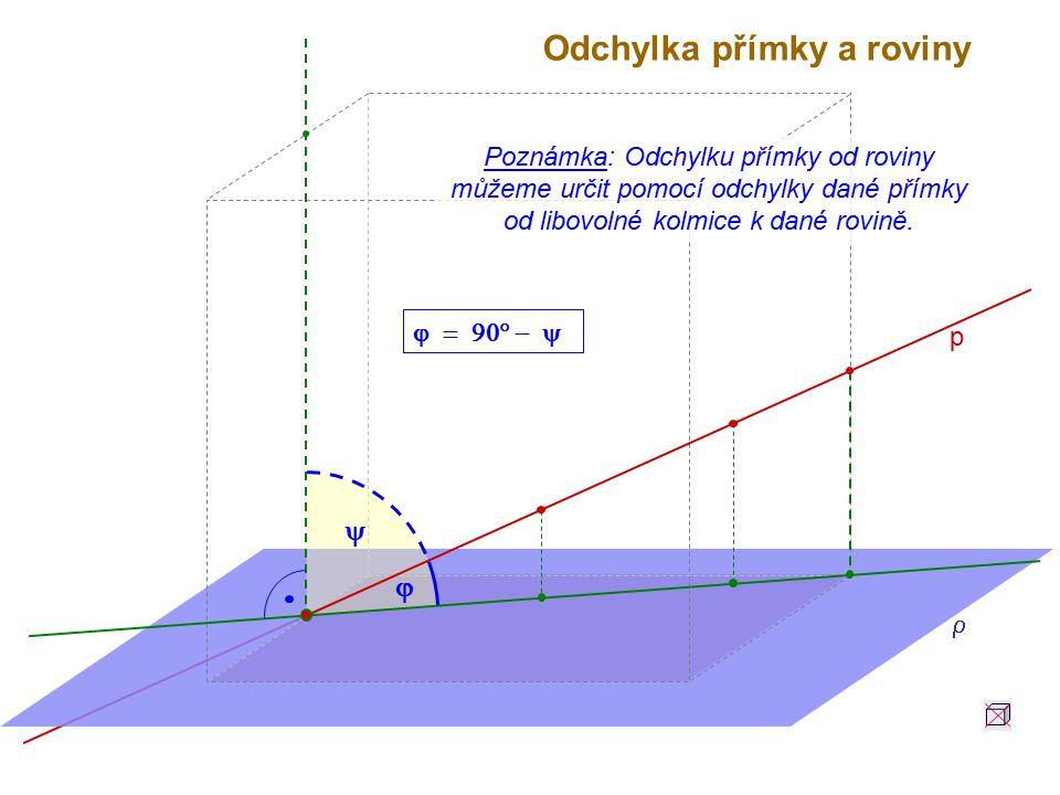 Odchylka přímky a roviny p    Poznámka: Odchylku přímky od roviny můžeme určit pomocí odchylky dané přímky od libovolné kolmice k dané rovině.