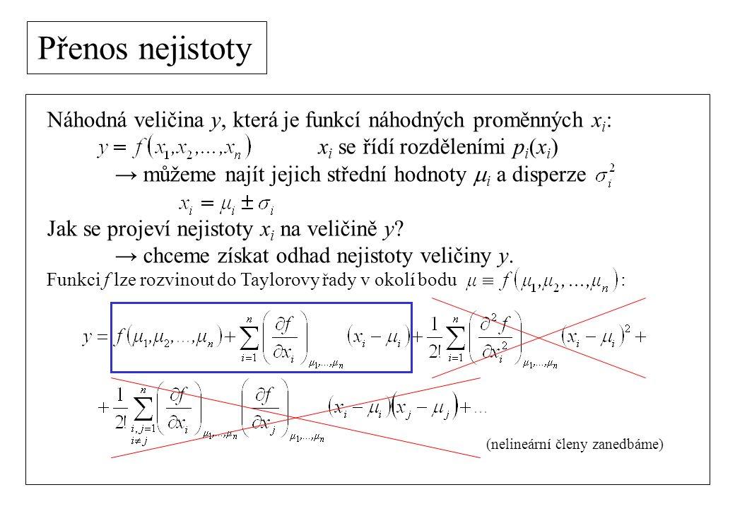 Přenos nejistoty Náhodná veličina y, která je funkcí náhodných proměnných x i : x i se řídí rozděleními p i (x i ) → můžeme najít jejich střední hodno