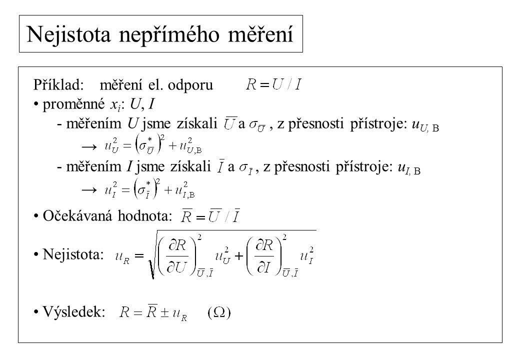 Nejistota nepřímého měření Příklad: měření el. odporu proměnné x i : U, I - měřením U jsme získali a, z přesnosti přístroje: u U, B → - měřením I jsme