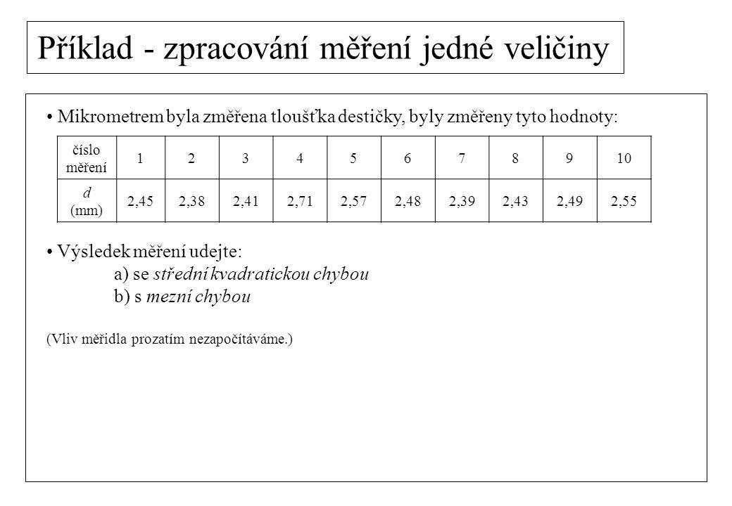 Příklad - zpracování měření jedné veličiny Mikrometrem byla změřena tloušťka destičky, byly změřeny tyto hodnoty: Výsledek měření udejte: a) se středn
