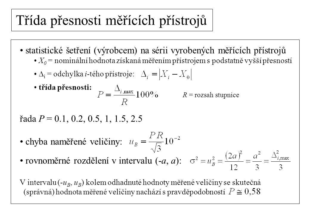 Třída přesnosti měřících přístrojů třída přesnosti: přístroje dělíme podle třídy přesnosti: příklad: - rozsah ampérmetru:R = 3 A - třída přesnosti:P = 1.5 Absolutní nejistota (chyba) měření proudu na tomto rozsahu je: Pozn.: je tedy vhodné měřit v horní části stupnice ručkového měřícího přístroje.