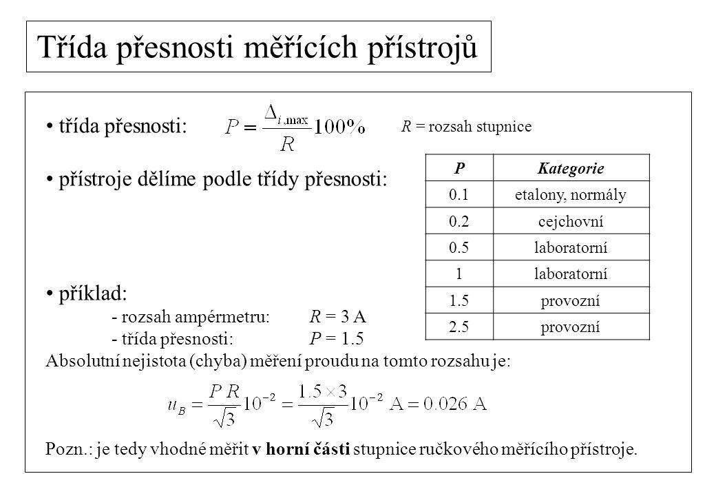 Třída přesnosti - zobecnění třída přesnosti: Pojem třídy přesnosti můžeme zobecnit i na další měřicí přístroje Absolutní chybu měřidla lze odhadnout z dělení stupnice: předpokládáme rovnoměrné dělení stupnice v intervalu (-a, a) volíme a =  = nejjemnější dílek stupnice Příklad: Při měření posuvným měřidlem je  = 0.1 mm.