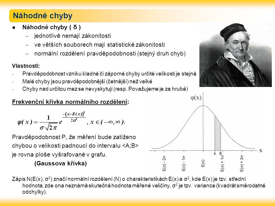 Náhodné chyby Náhodné chyby ( δ ) – jednotlivě nemají zákonitosti – ve větších souborech mají statistické zákonitosti – normální rozdělení pravděpodob