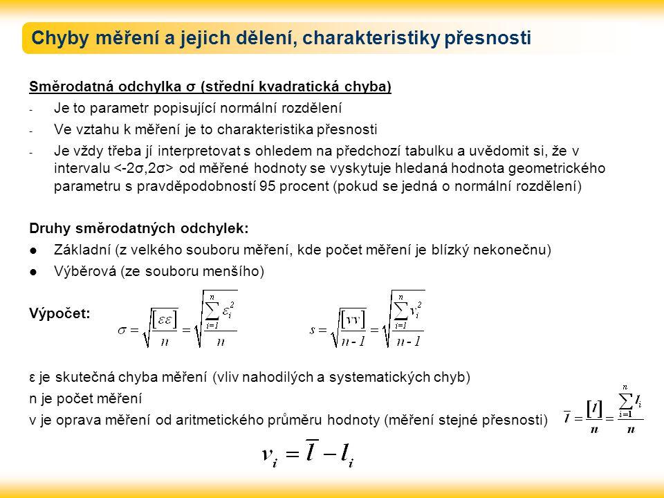 Chyby měření a jejich dělení, charakteristiky přesnosti Směrodatná odchylka σ (střední kvadratická chyba) - Je to parametr popisující normální rozděle