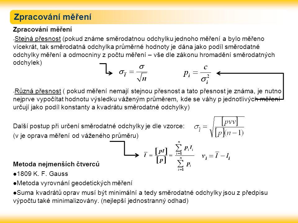 Zpracování měření - Stejná přesnost (pokud známe směrodatnou odchylku jednoho měření a bylo měřeno vícekrát, tak směrodatná odchylka průměrné hodnoty