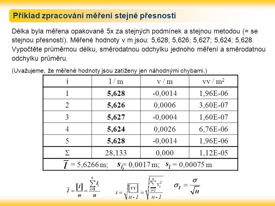 Příklad zpracování měření stejné přesnosti Délka byla měřena opakovaně 5x za stejných podmínek a stejnou metodou (= se stejnou přesností). Měřené hodn