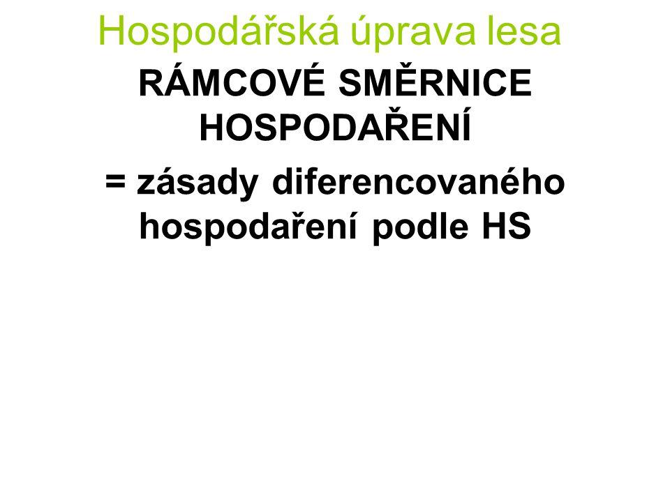 Hospodářská úprava lesa RÁMCOVÉ SMĚRNICE HOSPODAŘENÍ = zásady diferencovaného hospodaření podle HS