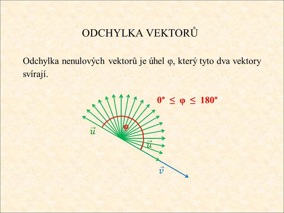ODCHYLKA VEKTORŮ Odchylku vektorů určíme ze vztahu: skalární součin velikosti vektorů Pozn.