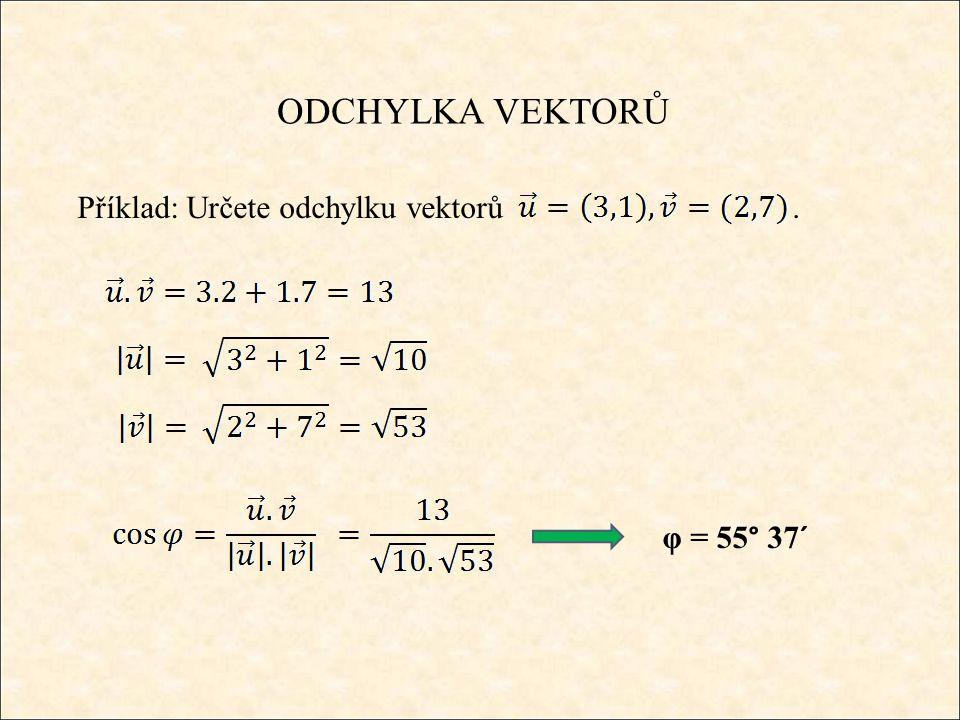 ODCHYLKA VEKTORŮ Příklad: Určete odchylku vektorů. φ = 55° 37´