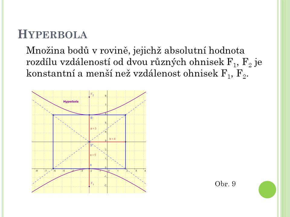 H YPERBOLA Množina bodů v rovině, jejichž absolutní hodnota rozdílu vzdáleností od dvou různých ohnisek F 1, F 2 je konstantní a menší než vzdálenost ohnisek F 1, F 2.
