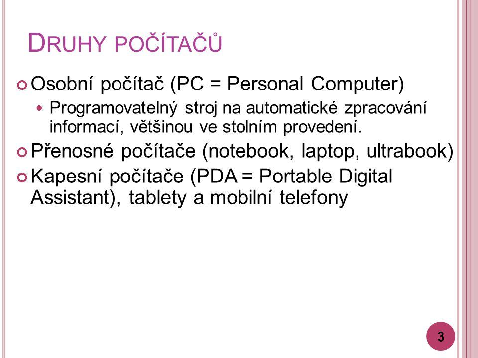 D RUHY POČÍTAČŮ 3 Osobní počítač (PC = Personal Computer) Programovatelný stroj na automatické zpracování informací, většinou ve stolním provedení.