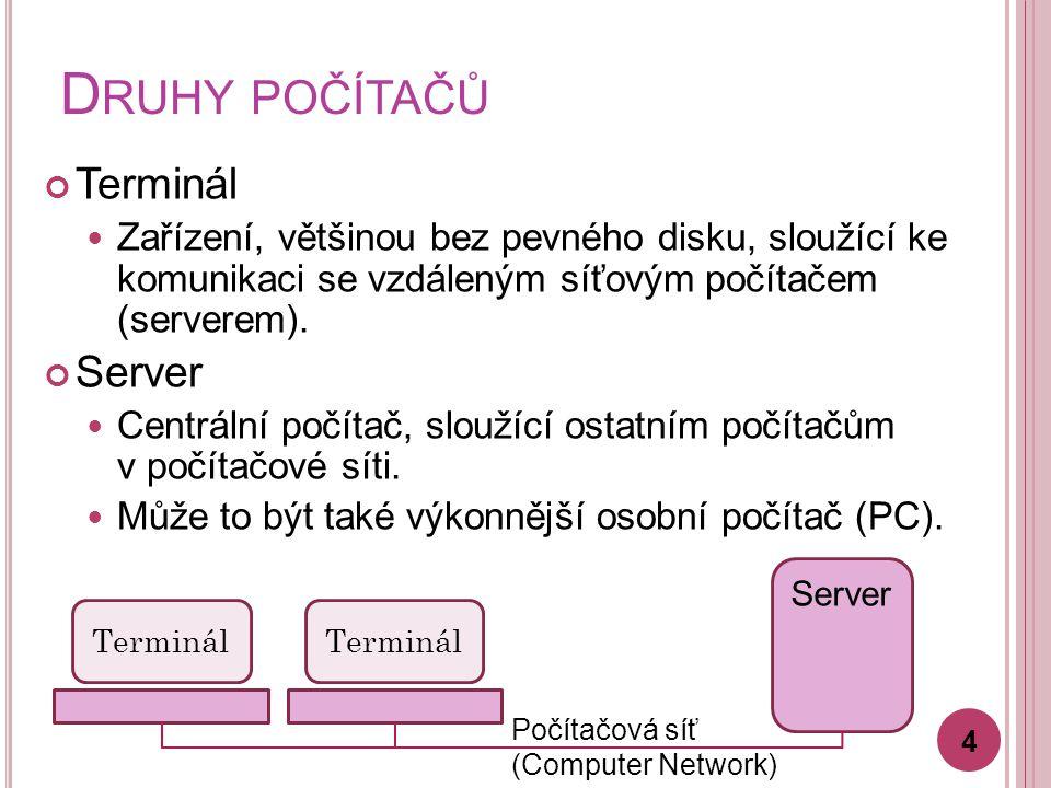 D RUHY POČÍTAČŮ Sálový počítač (mainframe) Výkonný počítač pro zpracování většího množství dat.