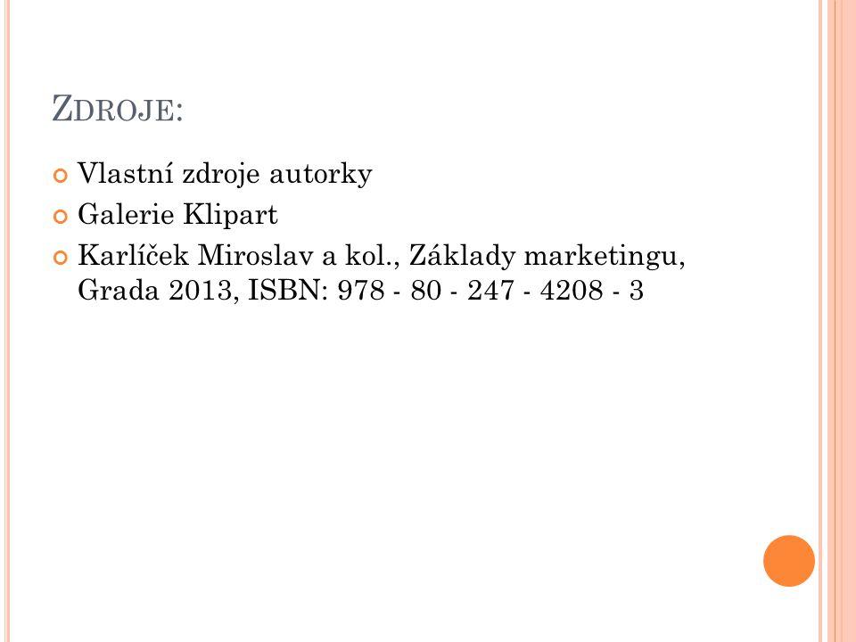 Z DROJE : Vlastní zdroje autorky Galerie Klipart Karlíček Miroslav a kol., Základy marketingu, Grada 2013, ISBN: 978 - 80 - 247 - 4208 - 3