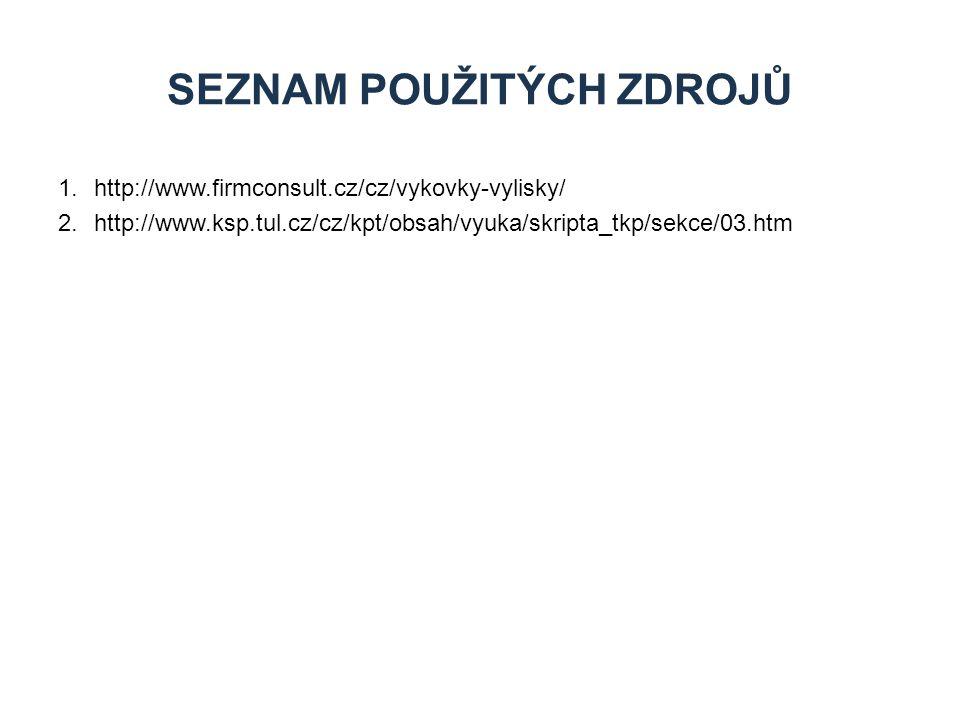 1.http://www.firmconsult.cz/cz/vykovky-vylisky/ 2.http://www.ksp.tul.cz/cz/kpt/obsah/vyuka/skripta_tkp/sekce/03.htm SEZNAM POUŽITÝCH ZDROJŮ