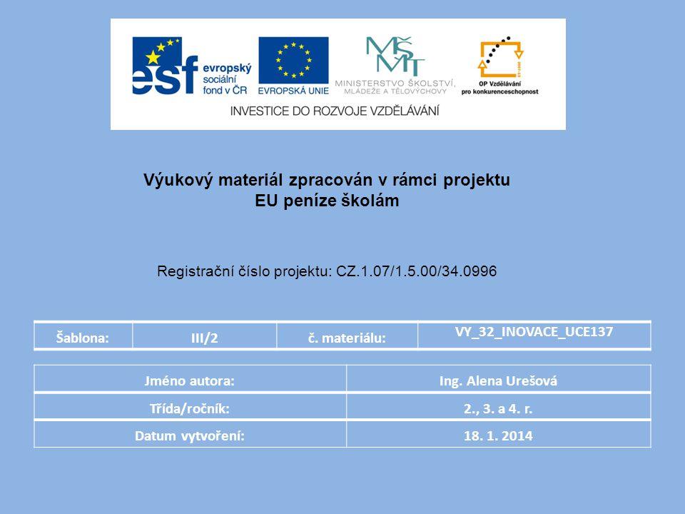 Šablona:III/2č. materiálu: VY_32_INOVACE_UCE137 Jméno autora:Ing.
