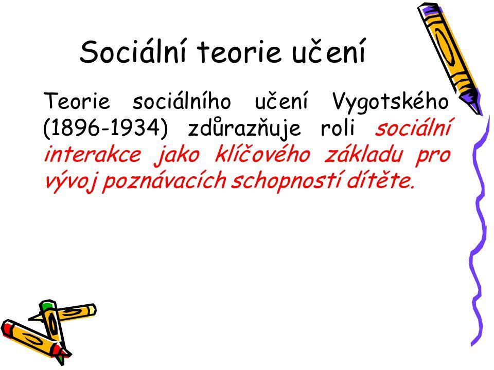 Sociální teorie učení Teorie sociálního učení Vygotského (1896-1934) zdůrazňuje roli sociální interakce jako klíčového základu pro vývoj poznávacích s