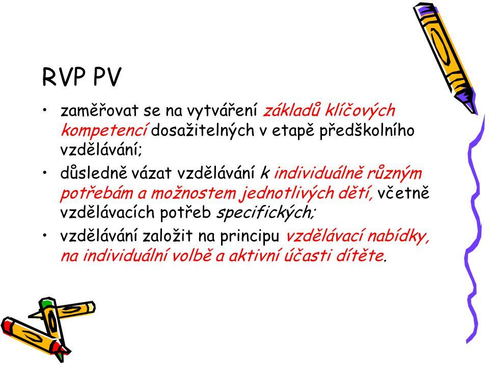 RVP PV zaměřovat se na vytváření základů klíčových kompetencí dosažitelných v etapě předškolního vzdělávání; důsledně vázat vzdělávání k individuálně