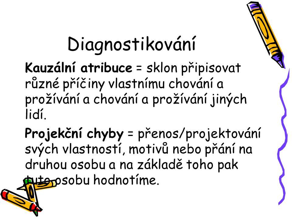 Diagnostikování Kauzální atribuce = sklon připisovat různé příčiny vlastnímu chování a prožívání a chování a prožívání jiných lidí. Projekční chyby =