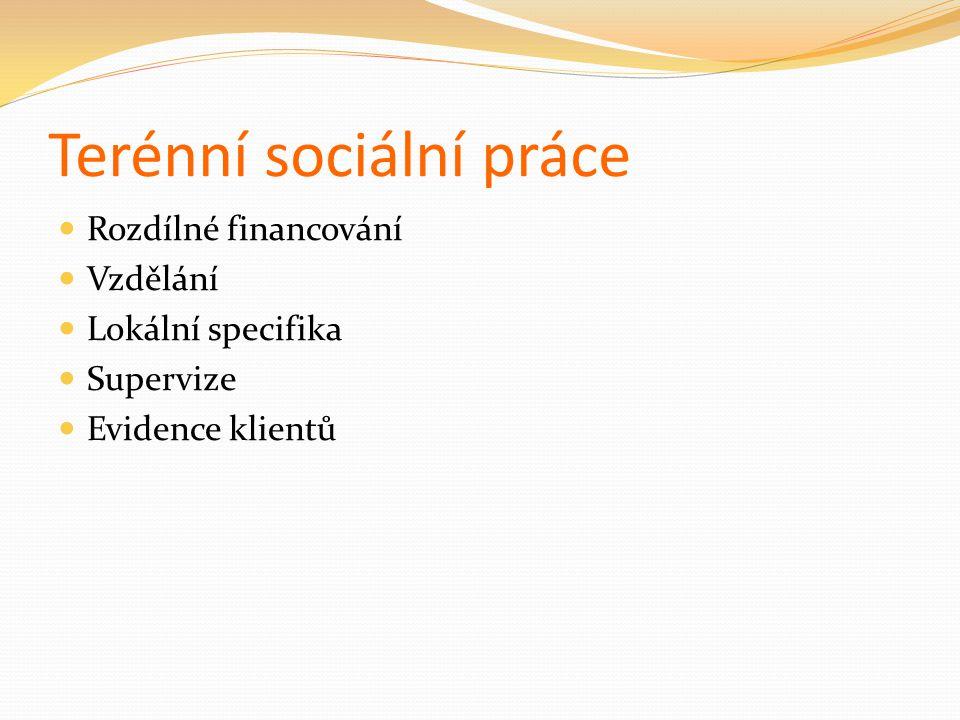 Terénní sociální práce Rozdílné financování Vzdělání Lokální specifika Supervize Evidence klientů