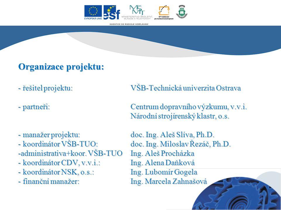 Organizace projektu: - řešitel projektu:VŠB-Technická univerzita Ostrava - partneři: Centrum dopravního výzkumu, v.v.i. Národní strojírenský klastr, o