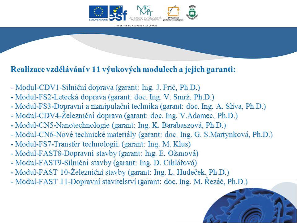 Realizace vzdělávání v 11 výukových modulech a jejich garanti: - Modul-CDV1-Silniční doprava (garant: Ing. J. Frič, Ph.D.) - Modul-FS2-Letecká doprava