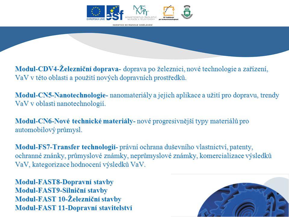 Modul-CDV4-Železniční doprava- doprava po železnici, nové technologie a zařízení, VaV v této oblasti a použití nových dopravních prostředků. Modul-CN5