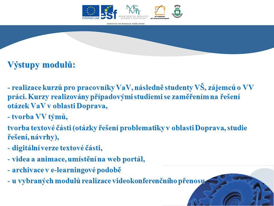 Výstupy modulů: - realizace kurzů pro pracovníky VaV, následně studenty VŠ, zájemců o VV práci. Kurzy realizovány případovými studiemi se zaměřením na