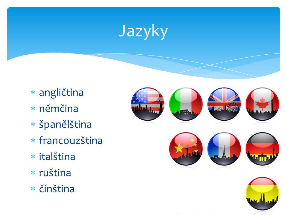  angličtina  němčina  španělština  francouzština  italština  ruština  čínština Jazyky