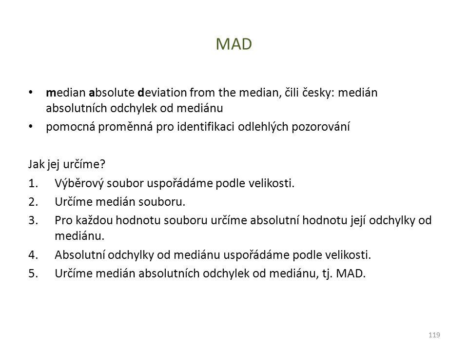 MAD median absolute deviation from the median, čili česky: medián absolutních odchylek od mediánu pomocná proměnná pro identifikaci odlehlých pozorová