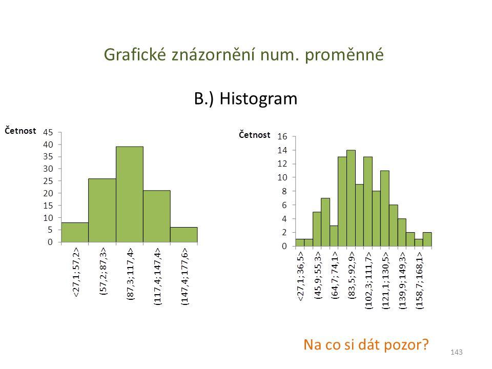 Grafické znázornění num. proměnné B.) Histogram Na co si dát pozor? 143