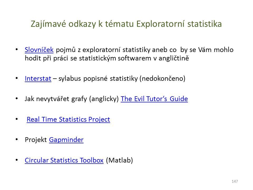 Zajímavé odkazy k tématu Exploratorní statistika Slovníček pojmů z exploratorní statistiky aneb co by se Vám mohlo hodit při práci se statistickým sof