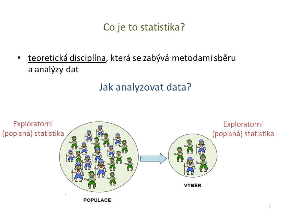 Co je to statistika? teoretická disciplína, která se zabývá metodami sběru a analýzy dat Jak analyzovat data? Exploratorní (popisná) statistika 7