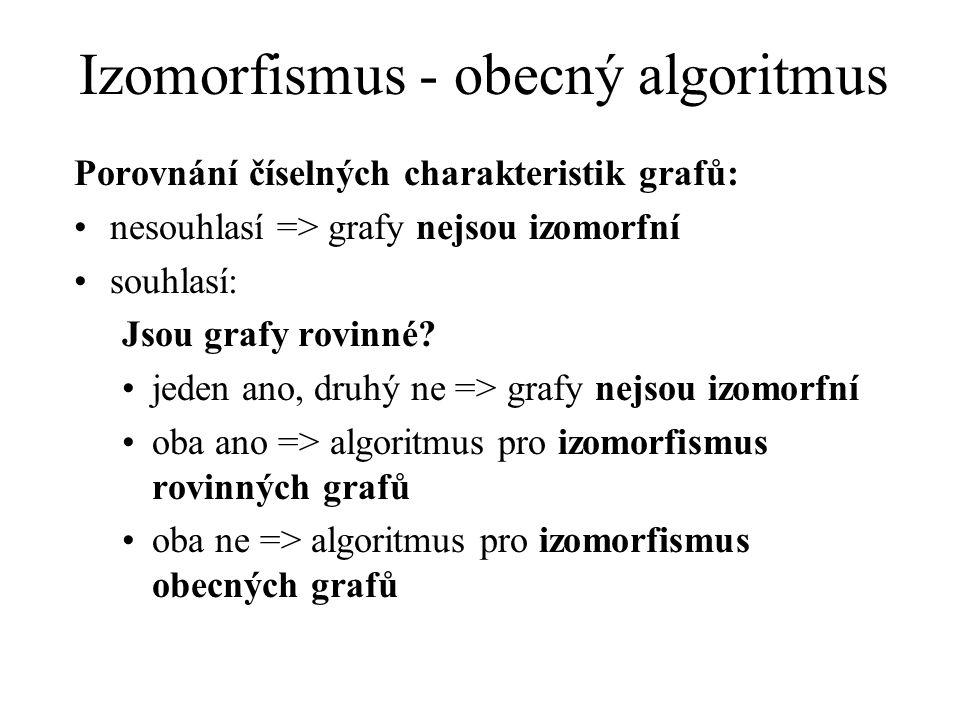 Izomorfismus - obecný algoritmus Porovnání číselných charakteristik grafů: nesouhlasí => grafy nejsou izomorfní souhlasí: Jsou grafy rovinné? jeden an