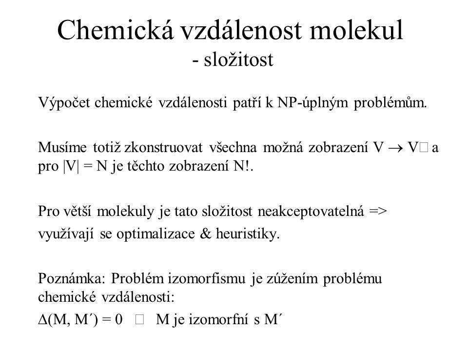 Chemická vzdálenost molekul - složitost Výpočet chemické vzdálenosti patří k NP-úplným problémům. Musíme totiž zkonstruovat všechna možná zobrazení V