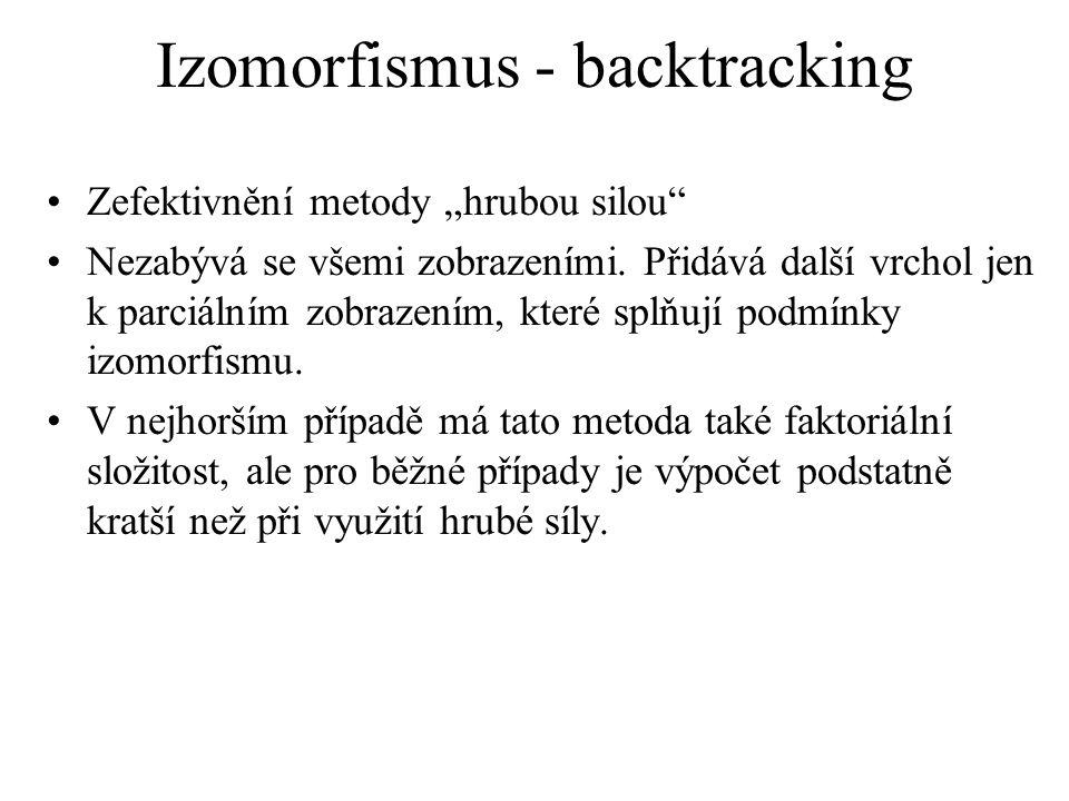 """Izomorfismus - backtracking Zefektivnění metody """"hrubou silou"""" Nezabývá se všemi zobrazeními. Přidává další vrchol jen k parciálním zobrazením, které"""