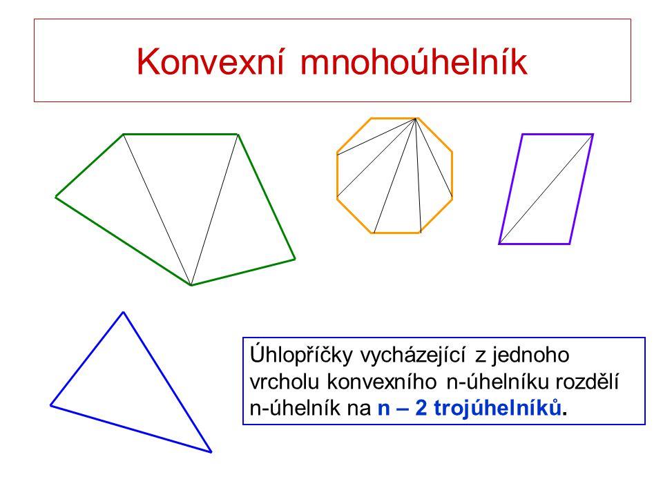 Konvexní mnohoúhelník Úhlopříčky vycházející z jednoho vrcholu konvexního n-úhelníku rozdělí n-úhelník na n – 2 trojúhelníků.