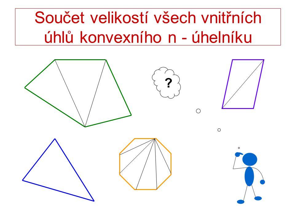 Součet velikostí všech vnitřních úhlů konvexního n - úhelníku ?