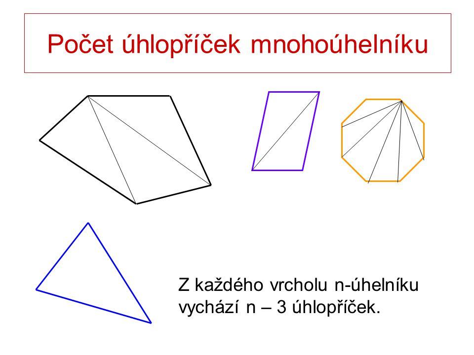 Z každého vrcholu n-úhelníku vychází n – 3 úhlopříček.
