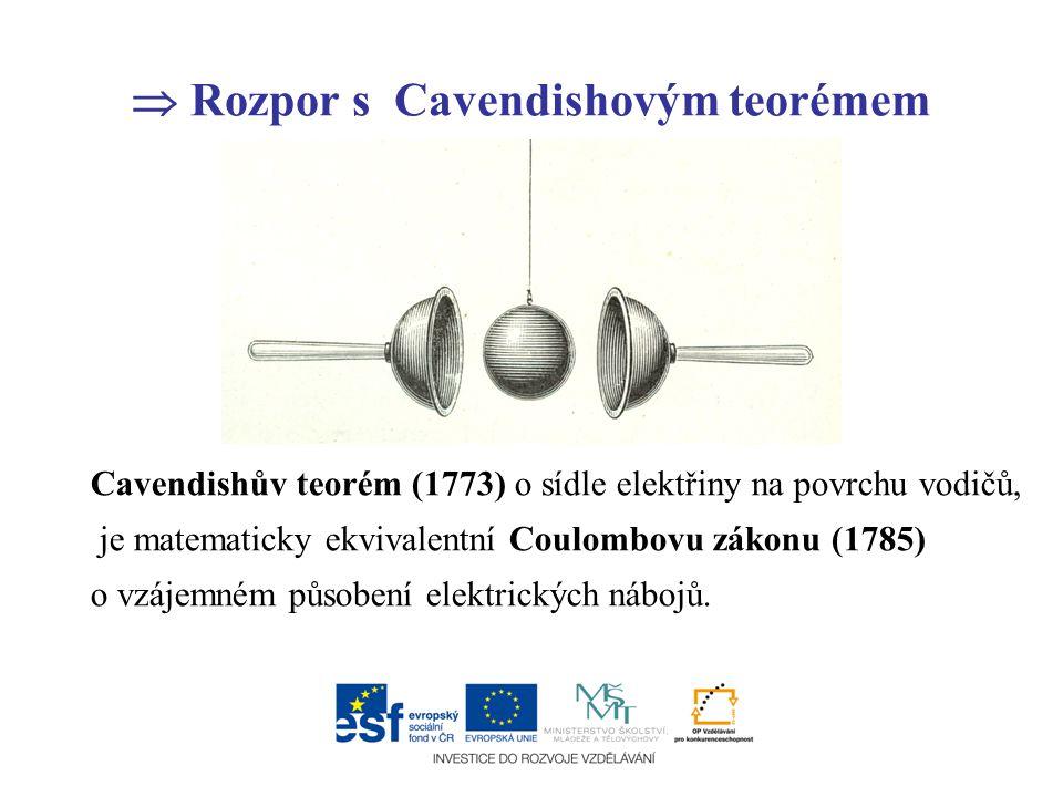  Rozpor s Cavendishovým teorémem Cavendishův teorém (1773) o sídle elektřiny na povrchu vodičů, je matematicky ekvivalentní Coulombovu zákonu (1785)