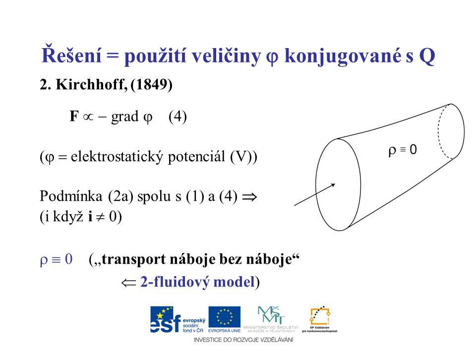 Řešení = použití veličiny  konjugované s Q 2. Kirchhoff, (1849) F   grad  (4) (   elektrostatický potenciál (V)) Podmínka (2a) spolu s (1) a (4)