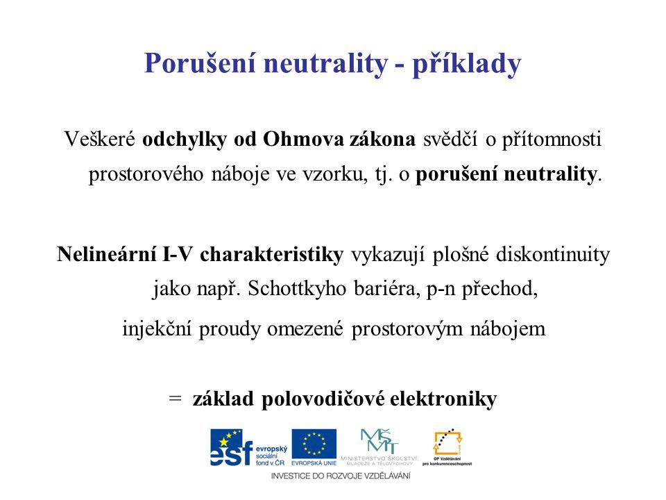 Porušení neutrality - příklady Veškeré odchylky od Ohmova zákona svědčí o přítomnosti prostorového náboje ve vzorku, tj. o porušení neutrality. Neline