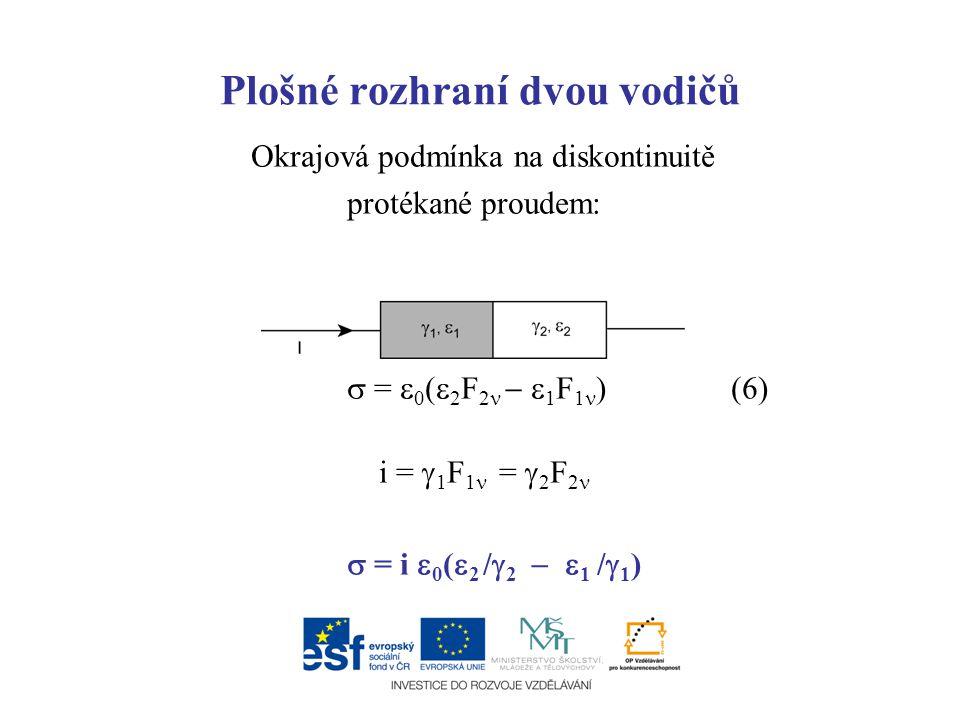 Plošné rozhraní dvou vodičů Okrajová podmínka na diskontinuitě protékané proudem:  =  0 (  2 F 2   1 F 1 ) (6) i =  1 F 1 =  2 F 2  = i  0 (