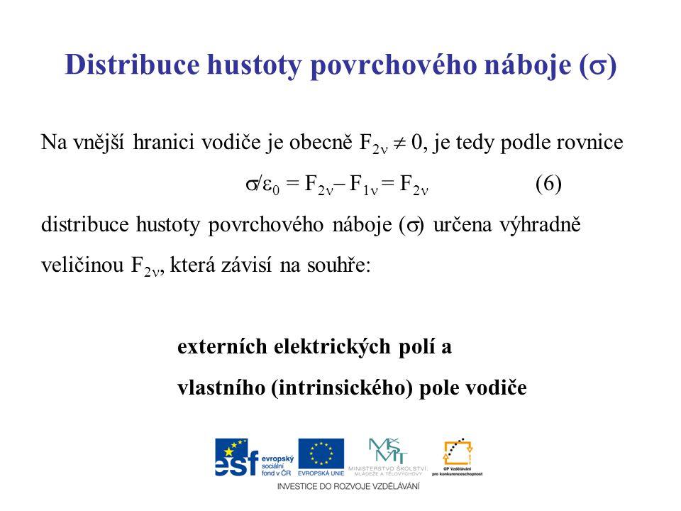 Distribuce hustoty povrchového náboje (  ) Na vnější hranici vodiče je obecně F 2  0, je tedy podle rovnice  /  0 = F 2  F 1 = F 2 (6) distribuce