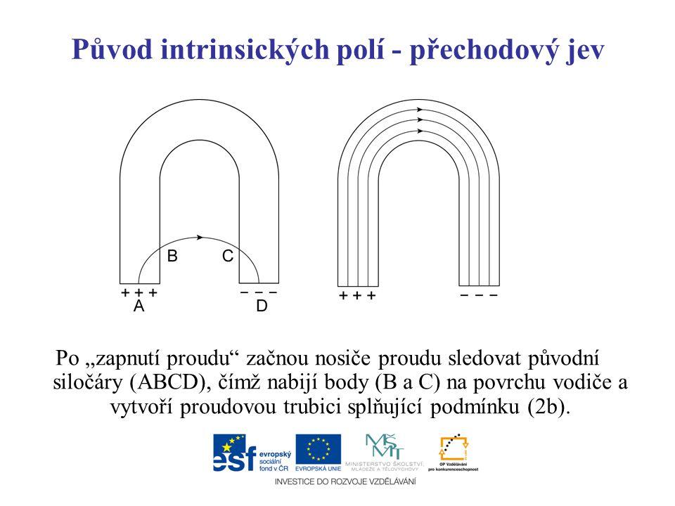 """Původ intrinsických polí - přechodový jev Po """"zapnutí proudu"""" začnou nosiče proudu sledovat původní siločáry (ABCD), čímž nabijí body (B a C) na povrc"""