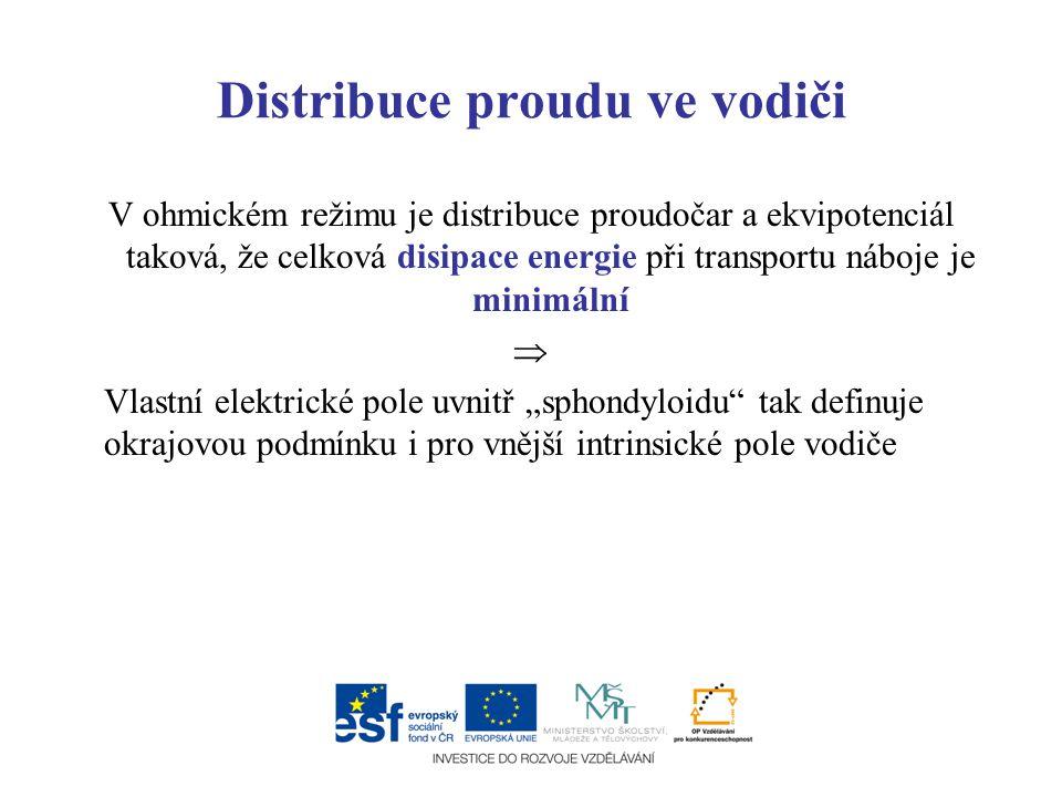 Distribuce proudu ve vodiči V ohmickém režimu je distribuce proudočar a ekvipotenciál taková, že celková disipace energie při transportu náboje je min