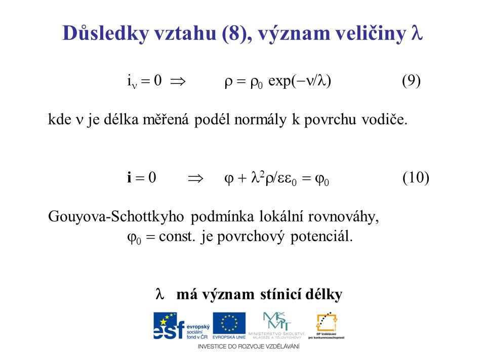 Důsledky vztahu (8), význam veličiny i  0     0 exp(  / ) (9) kde je délka měřená podél normály k povrchu vodiče. i  0   2  /  0   0 (1