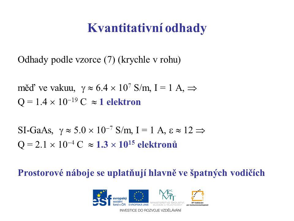 Kvantitativní odhady Odhady podle vzorce (7) (krychle v rohu) měď ve vakuu,   6.4  10 7 S/m, I = 1 A,  Q = 1.4  10  19 C  1 elektron SI-GaAs, 