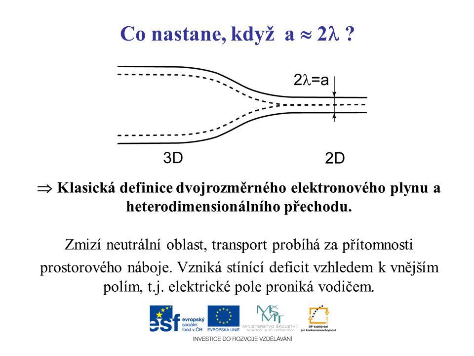 Co nastane, když a  2 ?  Klasická definice dvojrozměrného elektronového plynu a heterodimensionálního přechodu. Zmizí neutrální oblast, transport pr